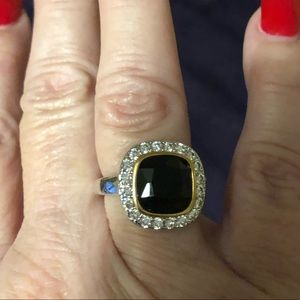Sterling silver with black onyx simulated diamonds